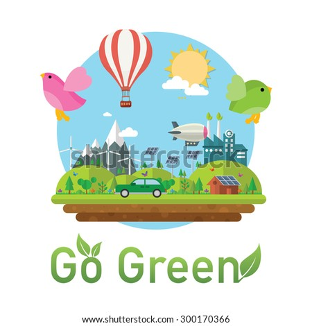 green eco town - Background ecology town illustration - stock vector