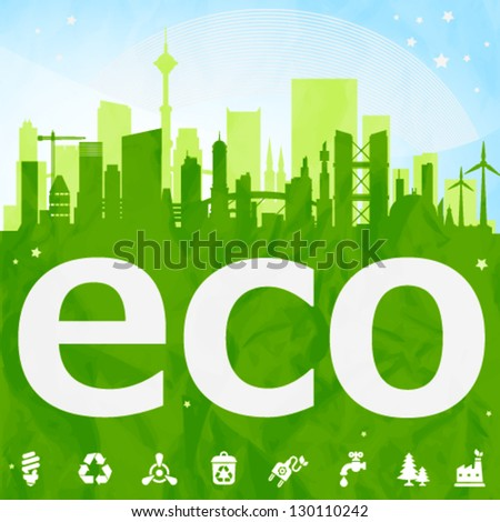 Green eco town placard with icons and crumpled paper texture on background. Image contains transparency, EPS10 - stock vector