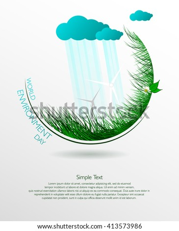 Green eco. Vector composition of grass on a light background. World environment day. Illustration. - stock vector