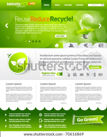Green eco vector website template with lighbulb 3 - stock vector