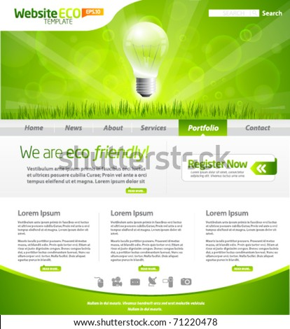 Green eco website layout template - stock vector