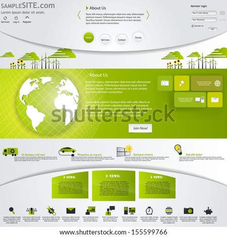 Green Eco Website Template with icons set. - stock vector