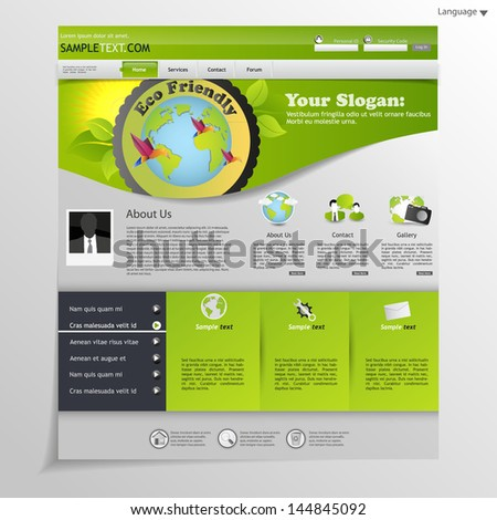 Green eco website with eco emblem  - stock vector
