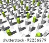"green ""ecological"" apartment houses/office buildings standing out from others - stock photo"
