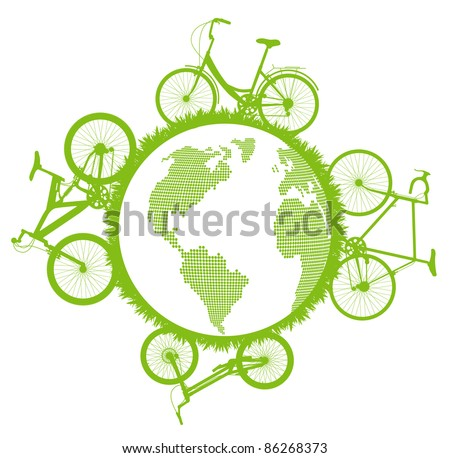 Green ecological bicycle driving planet vector background concept - stock vector