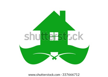 Green ecological house is standing on two green leaves. Isolated on the white background. - stock vector