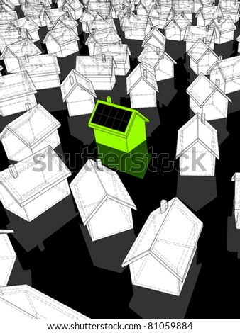 """green """"ecological"""" house with solar cells on roof standing out from others - stock vector"""
