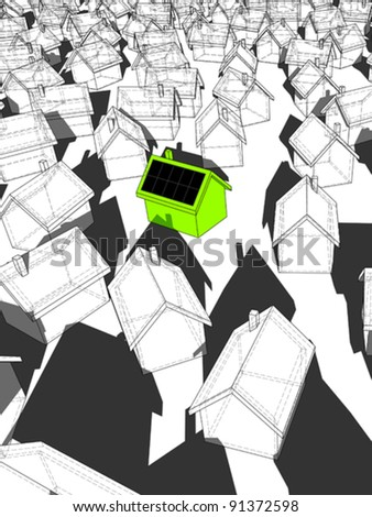 green ecological house with solar cells on roof standing out from others - stock vector
