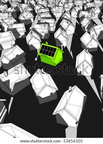 green ecological house with solar cells on roof standing out from others (also available as bitmap) - stock vector