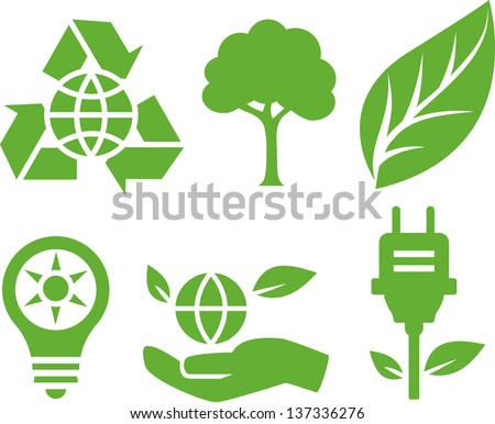 Green ecological icons - stock vector
