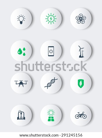 Green ecological modern technologies, modern round icons, vector illustration, eps10, easy to edit - stock vector