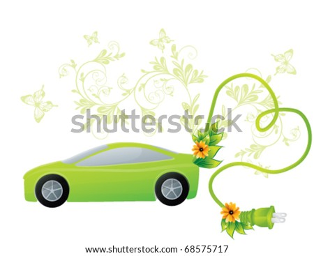 Green ecology car, vector - stock vector