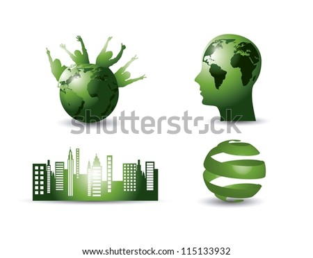 green ecology elements with shadow. vector illustration - stock vector
