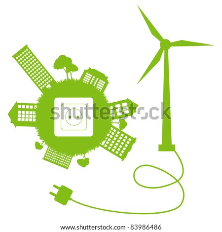 Green ecology energy planet vector concept with socket, plug and wind generator - stock vector
