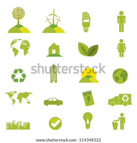 green ecology icons over white background. vector illustration - stock vector