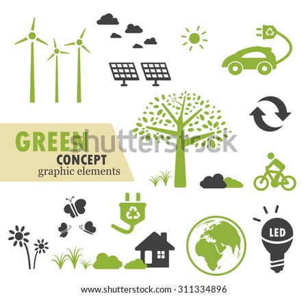 Green Ecology icons set for green concept design