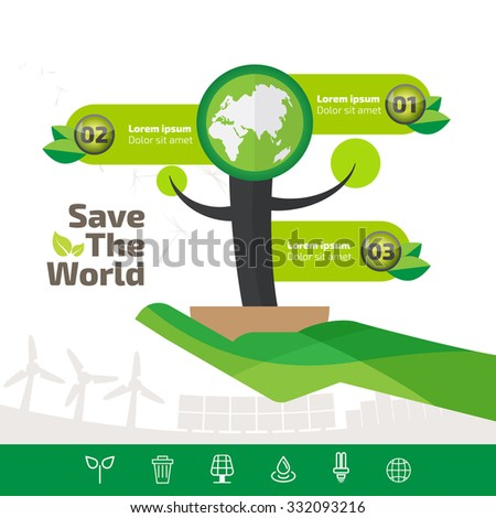 green ecology infographic element, save the world and tree eco concept.  - stock vector