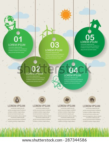 green ecology infographics elements and  background, environment friendly concept. Can be used for  industry statistic , business data, web design, info chart, brochure template. vector illustration - stock vector