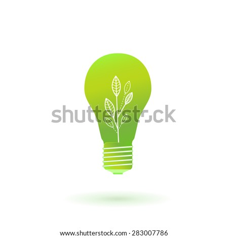 Green ecology light bulb, vector icon - stock vector