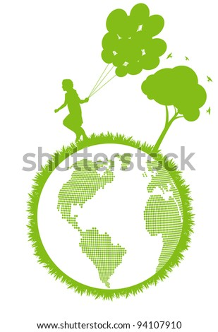Green ecology plant with happy kid and tree eco concept - stock vector