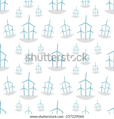 Green ecology seamless pattern with windmills. - stock vector