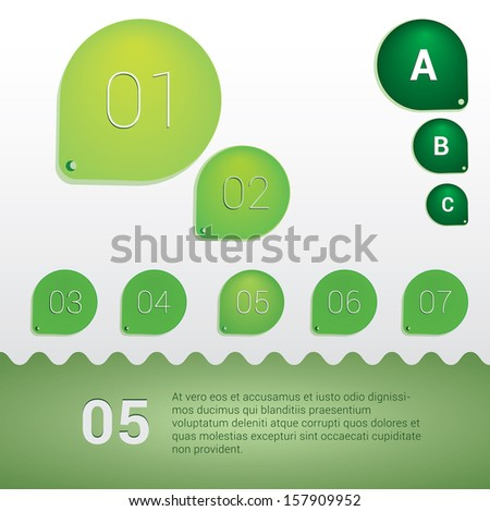 Green edition of a scalable & rounded eps10 abstract minimal number and letter/character holder colorful geometric elements for universal use  - stock vector