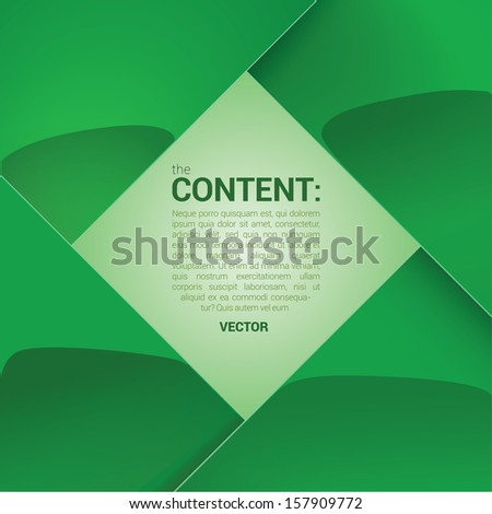 Green  edition of a shiny scalable eps10 format square framed vector text field with custom/adjustable background element for universal use  - stock vector