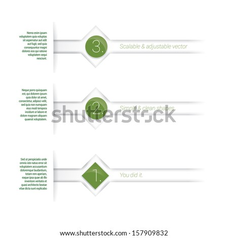 Green edition of adjustable eps10 vector composition an abstract minimal geometric paper background based list elements with content and menu field for numbering or lettering,  for universal use  - stock vector