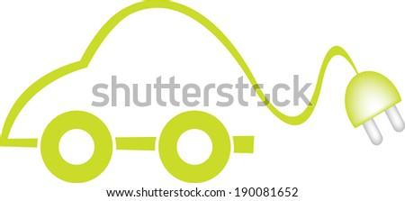 green electric car - stock vector