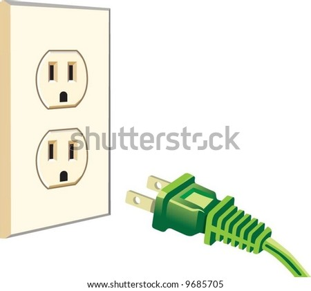 green electric plug - stock vector