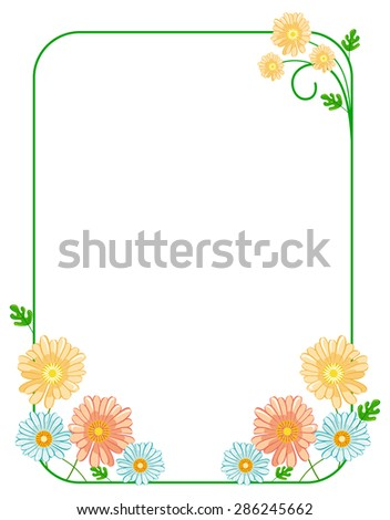 Green elegant frame with daisies - stock vector