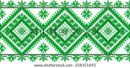 green embroidered good like handmade cross-stitch ethnic Ukraine pattern. spring color for St Patricks day - stock vector