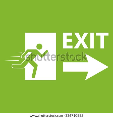 Green emergency exit sign - stock vector
