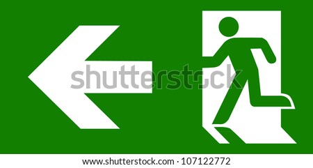Green emergency exit sign on white - stock vector