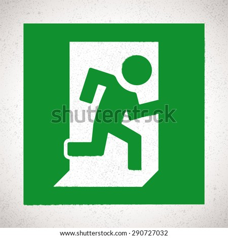 Green Emergency Exit Sign with running human figure. Vector direction sign - stock vector