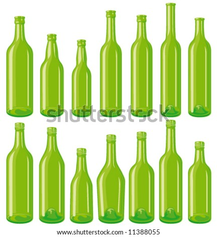 Green 14 empty glass bottle set, each in separated layers. - stock vector