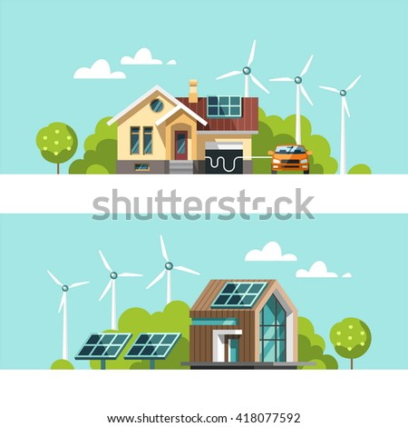 Green energy an eco friendly houses - solar energy, wind energy. Vector concept illustration. - stock vector