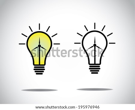 green energy bright lightbulb concept with wind mill turbine. bright glowing light bulb with wind power generator - renewable energy innovation concept illustration collection set - stock vector