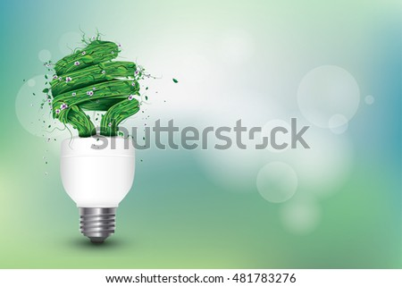 Green Energy Concept Illustration with Bulb - Ecological Conceptual Vector Illustration with Lighting Bulb