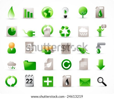 green energy concept vector icons set (see also other related images in my portfolio) - stock vector