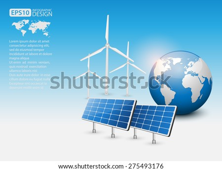 Green Energy Concept with Solar Panel and Earth, vector - stock vector