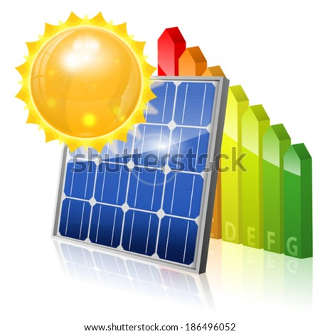 Green Energy Concept with Solar Panel, Energy Efficiency Rating and Sun, vector isolated on white background - stock vector