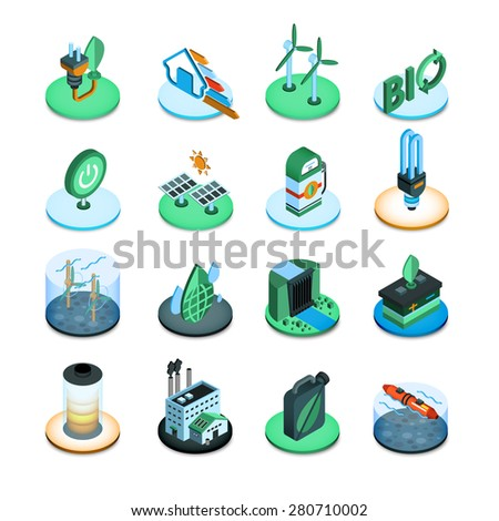 Green energy ecologic power resources isometric icons set isolated vector illustration - stock vector