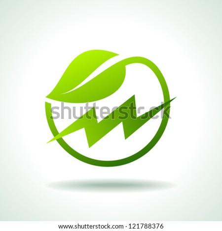 green energy electricity icon - stock vector