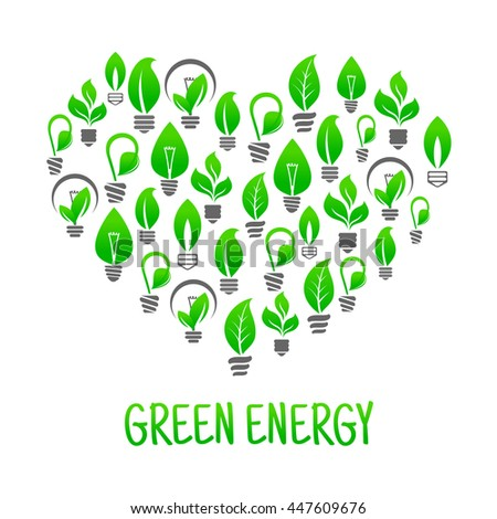 Green energy heart abstract symbol with ecology friendly light bulbs composed of screw caps and fresh green leaves and sprouts. Great for ecological concept or saving energy theme design - stock vector