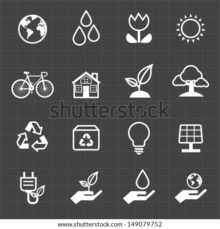 Green energy icon and black background - stock vector