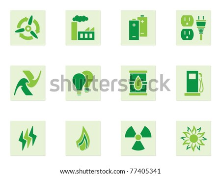 Green Energy Icon Set depicting energy and energy use - stock vector