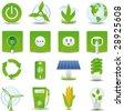 Green energy icon set hi detailed - stock photo