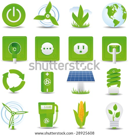 Green energy icon set hi detailed