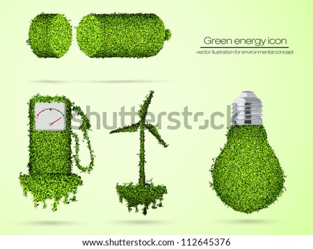 green energy icon. vector illustration for environmental concept - stock vector